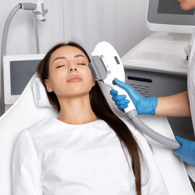 Elos Epilation Hair Removal Procedure On The Face Of A Woman. Be
