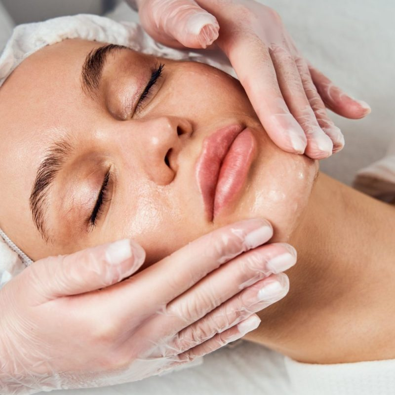 Face Skin Care. Close-up Of Woman Getting Facial Hydro Microderm