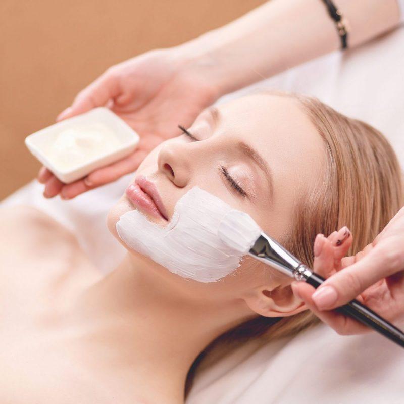 Spa Facial Mask Application. Spa Beauty Organic Facial Mask Appl